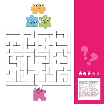 パズルのピースがパズルへの道を見つけるのを手伝ってください、子供のための迷路ゲーム、答えが含まれています