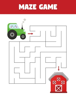 Help the tractor find right way to the barn. educational maze game for kids.