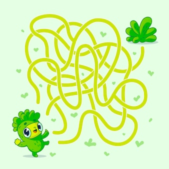 Help vegan character find path to salad. labyrinth. maze game for kids.   illustration.