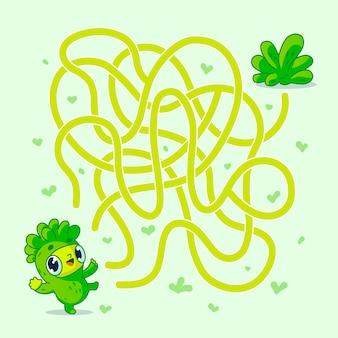 ビーガンキャラクターがサラダへの道を見つけるのを助けます。ラビリンス。子供向けの迷路ゲーム。図。