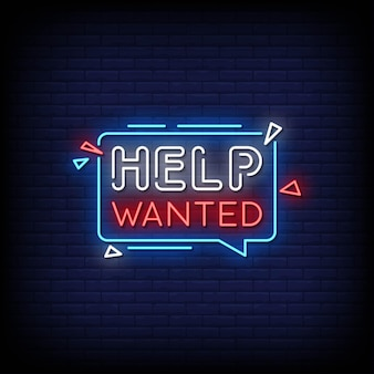 Help wanted neon signs style text