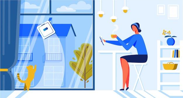 Help for woman robot window cleaner cartoon flat.