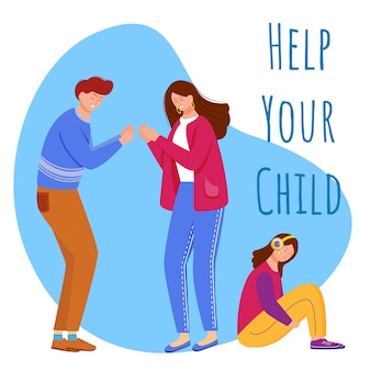 Help your child flat poster vector template.
