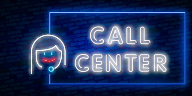 Helpdesk headset and round clock service neon sign.