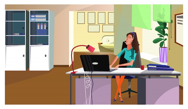 Helpdesk operator answering call illustration