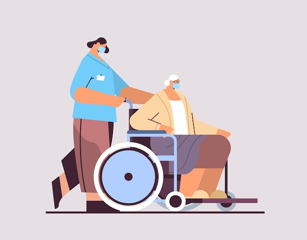 Helper taking care of senior disabled patient nurse pushing wheelchair care service concept horizontal full length vector illustration