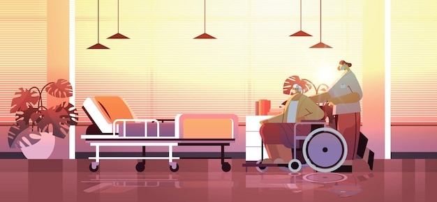 Helper taking care of senior disabled patient nurse pushing wheelchair care service concept hospital ward interior horizontal full length vector illustration