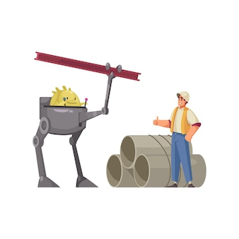 Helpful friendly alien working at construction site with human cartoon