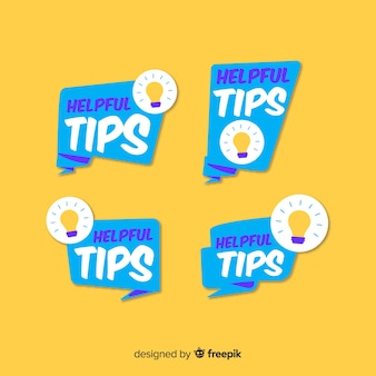 Helpful tips banners collection with lightbulbs