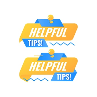 Helpful tips speech bubble badge label with lamp