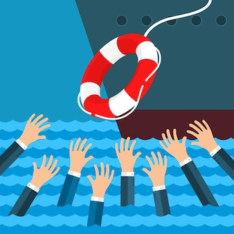 Helping business survive. drowning businessman getting lifebuoy from big ship for help, support, and survival. flat design, illustration.