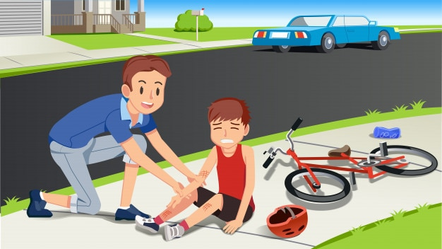 Helping children after a bicycle accident