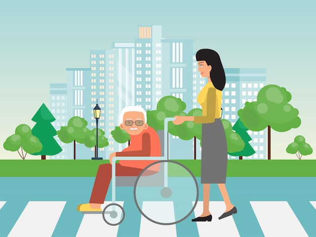 Helping to disabled people on cross road. assistance to old on wheelchair. woman helps to elderly on wheelchairs to cross road.