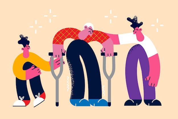 Helping elderly disabled people concept. young smiling boys helping old elderly aged grey haired disabled man with walkers to step out vector illustration