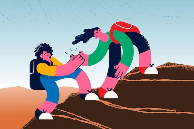 도움의 손길과 지원 개념입니다. 여름 방학 벡터 삽화 중에 친구가 산을 오르는 것을 돕는 손을 내미는 젊은 웃는 여자