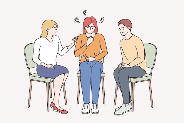 도움의 손길과 우울증 개념 프리미엄 벡터