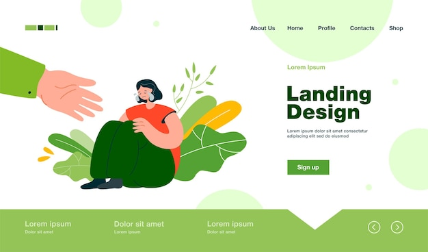 Helping hand for depressed crying person landing page in flat style