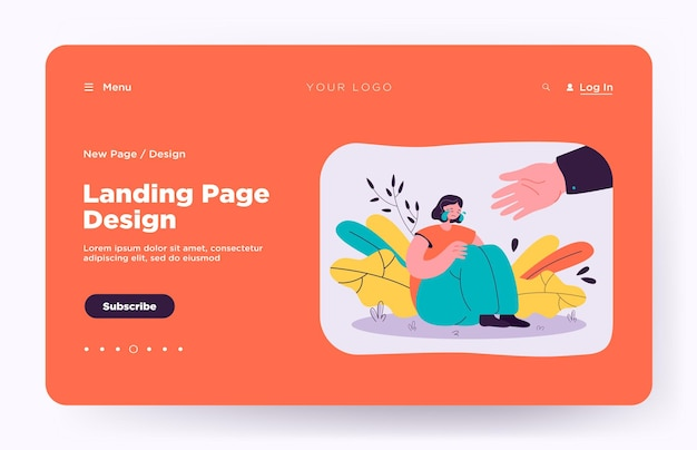 Helping hand for depressed crying person landing page