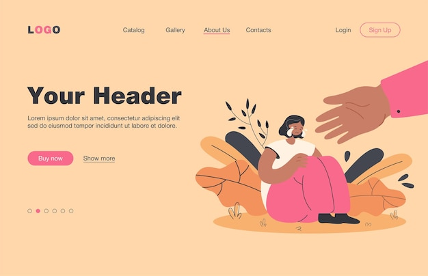 Helping hand for depressed crying person. sad, anxious and lonely woman suffering from stress and depression, getting support.  landing page for assistance, friendship, care concept