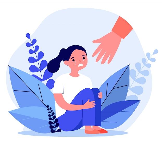 泣いている女の子を助ける手
