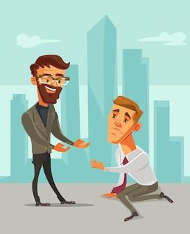 Помогая рука офисные бизнесмены персонажи иллюстрации шаржа