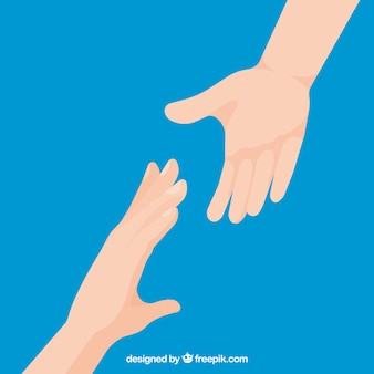 Helping hand to support background in flat style Premium Vector