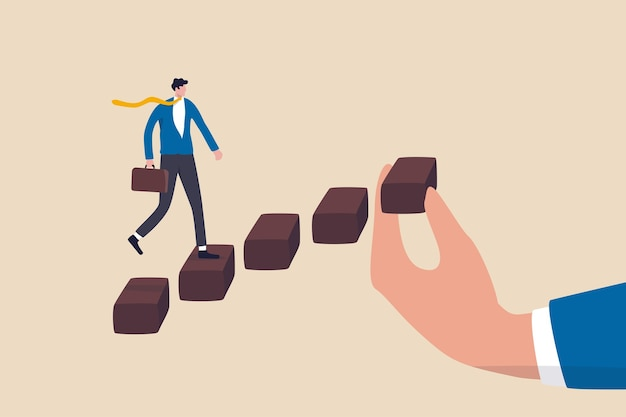 Helping hand to support on career development, staircase or ladder of success concept