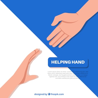 Helping hand to support background in flat style