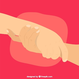 Помощь рукой для поддержки фона в плоском стиле
