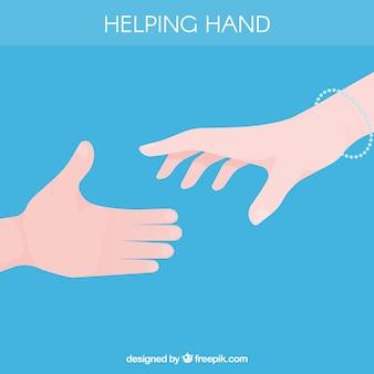 플랫 스타일의 배경을 지원하는 손 돕기