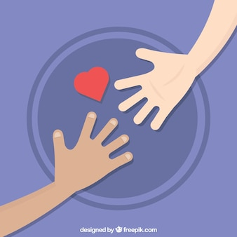 Helping hand with heart background in flat style