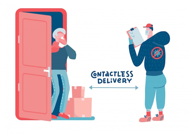 Helping the older generation during a pandemic and quarantine. food and drug delivery to the door. a courier with boxes, old man in protective mask are waiting for goods.   flat illustration.