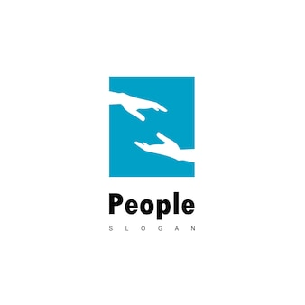Helping people logo with hand symbol