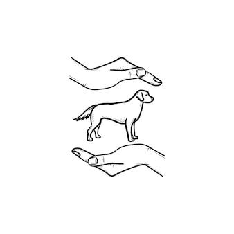 ペットの手描きのアウトライン落書きアイコンを支援します。コンセプトを運ぶペットとして周りに人間の腕を持つ犬。白い背景の上の印刷、ウェブ、モバイル、インフォグラフィックのベクトルスケッチイラスト。