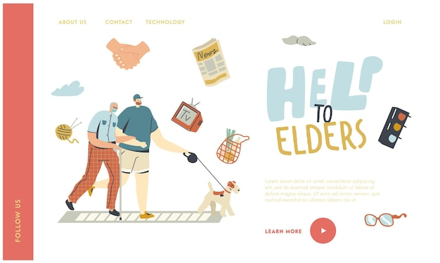 Helping and support aged pensioner landing page template.