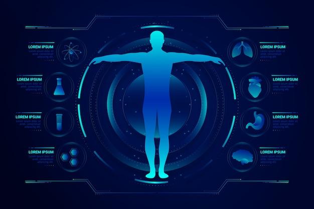 Помощь медицинской системе с футуристической инфографикой