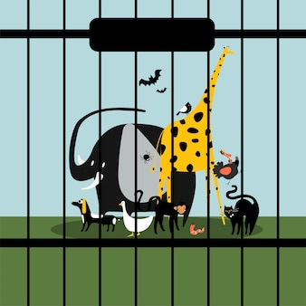 Helpless animals kept in captivity