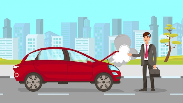 Helpless man with broken car vector illustration