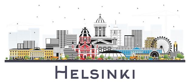 白で隔離される色の建物とヘルシンキフィンランドの街のスカイライン。ベクトルイラスト。歴史的な建築と出張とコンセプト。ランドマークのあるヘルシンキの街並み。