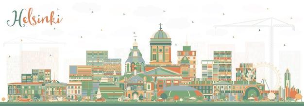 色の建物とヘルシンキフィンランドの街のスカイライン