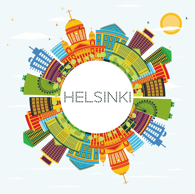 Helsinki skyline with color buildings, blue sky and copy space. vector illustration. business travel and tourism concept with historic architecture. image for presentation banner placard and web site.