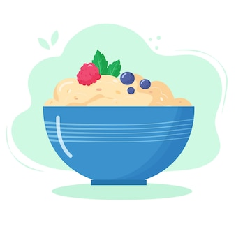 Helthy food for breakfast. oatmeal porridge with raspberry and blueberry in bowl.
