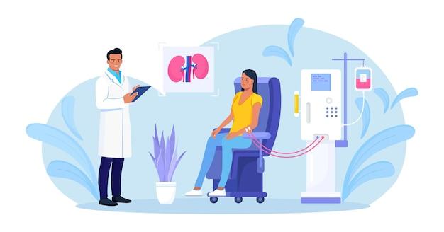 신부전 치료를 위한 혈액 투석 장비. 투석기를 통한 혈액 정화 및 수혈. 혈액투석을 하는 의사. 신장 질환 치료를 받고 있는 환자
