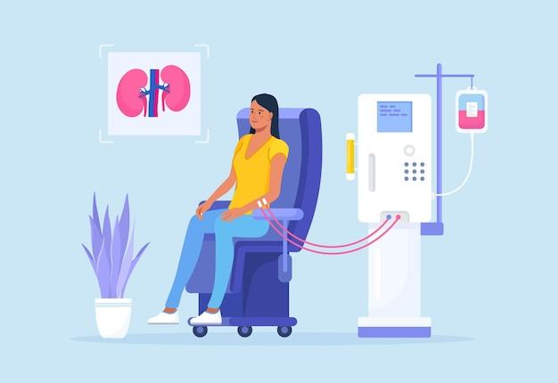 신부전 치료를 위한 혈액 투석 장비. 투석기를 통한 혈액의 정화 및 수혈. 의자에 앉아 신장병 치료를 받고 있는 환자