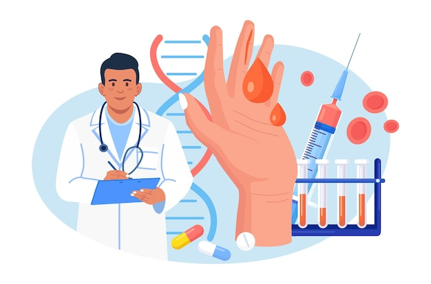 Гемофилия. крошечные врачи исследуют несвертываемость крови. рука с кровоточащей незаживающей раной. врач лечит пациента с анемией, заболеванием крови. подробный тест на эритроциты, тромбоциты