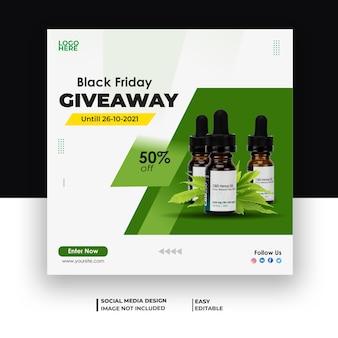 Hemp cbd oil promotional banner and cbd giveaway post design
