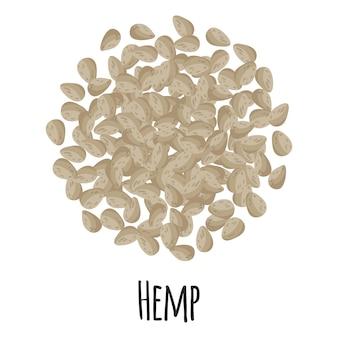 템플릿 농부 시장 디자인, 라벨 및 포장을 위한 대마. 천연 에너지 단백질 유기농 슈퍼 푸드. 벡터 만화 격리 된 그림입니다.
