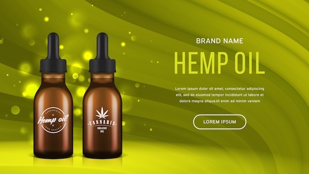 Hemp oil  banner. realistic bottles with medical cannabidiol product.