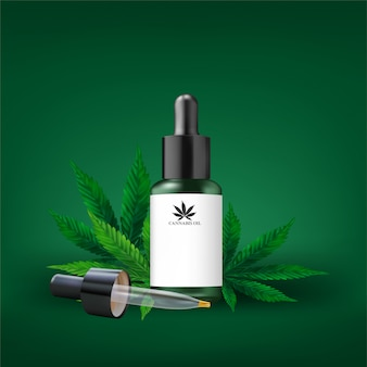 Hemp oil and cannabis leaf isolated. healthy cannabis oil, vector illustration.