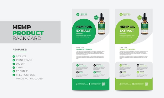 Hemp product rack card or dl flyer template cannabis sativa product sale rack card cbd dl flyer
